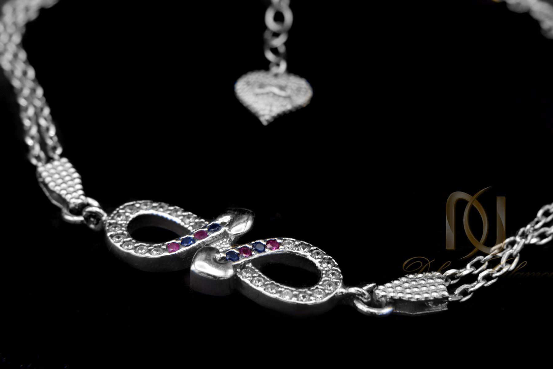 دستبند نقره دخترانه بی نهایت نگین رنگی ds-n418 از نمای مشکی