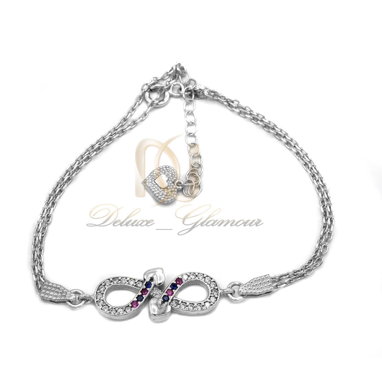 دستبند نقره دخترانه بی نهایت نگین رنگی ds-n418 از نمای سفید