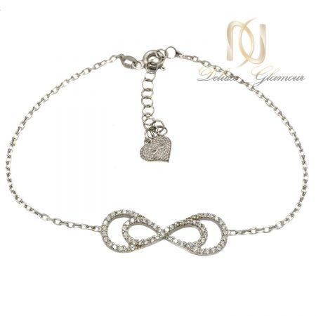 دستبند نقره دخترانه طرح بي نهايت ظريف ds-n413 از نماي سفيد