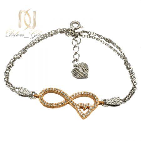 دستبند نقره دخترانه طرح بی نهایت رزگلد ds-n410 از نمای سفید