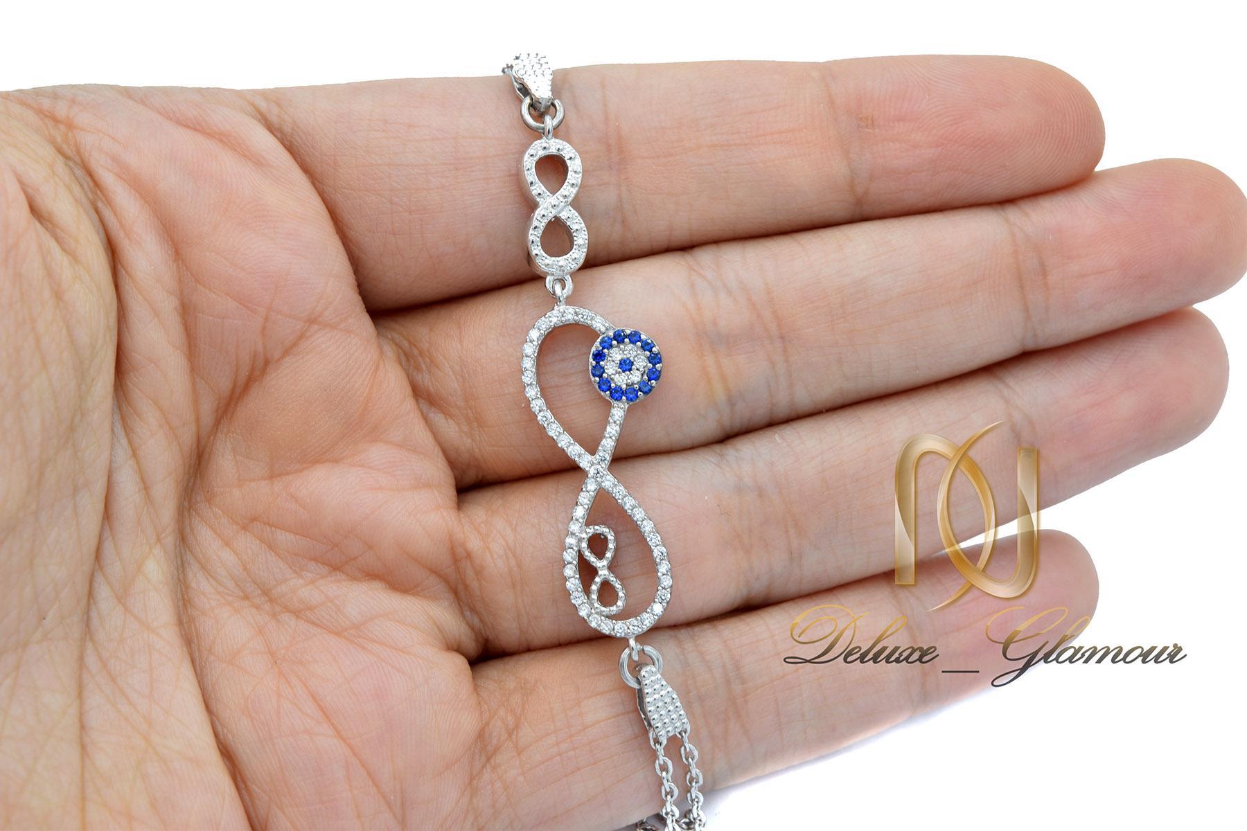 دستبند نقره دخترانه طرح بی نهایت ds-n444 از نمای روی دست