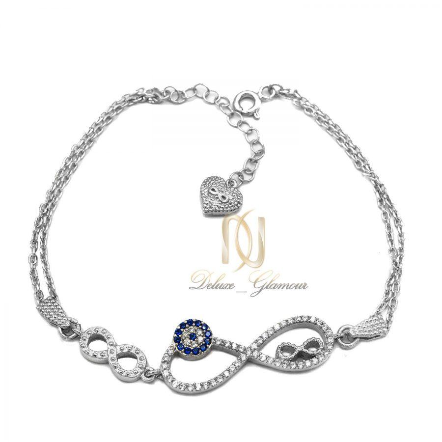 دستبند نقره دخترانه طرح بی نهایت ds-n444 از نمای سفید