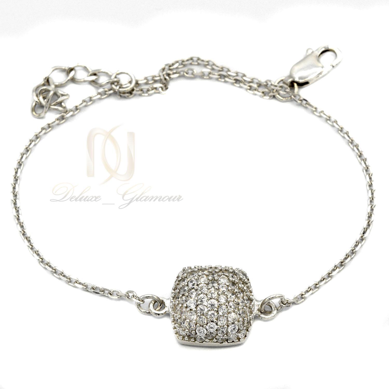 دستبند نقره دخترانه ظريف نگين دار ds-n411 از نماي سفيد