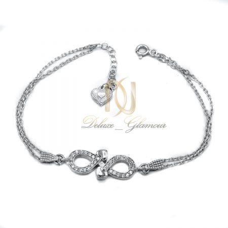 دستبند نقره دخترانه ظریف طرح بینهایت ds-n417 از نمای سفید