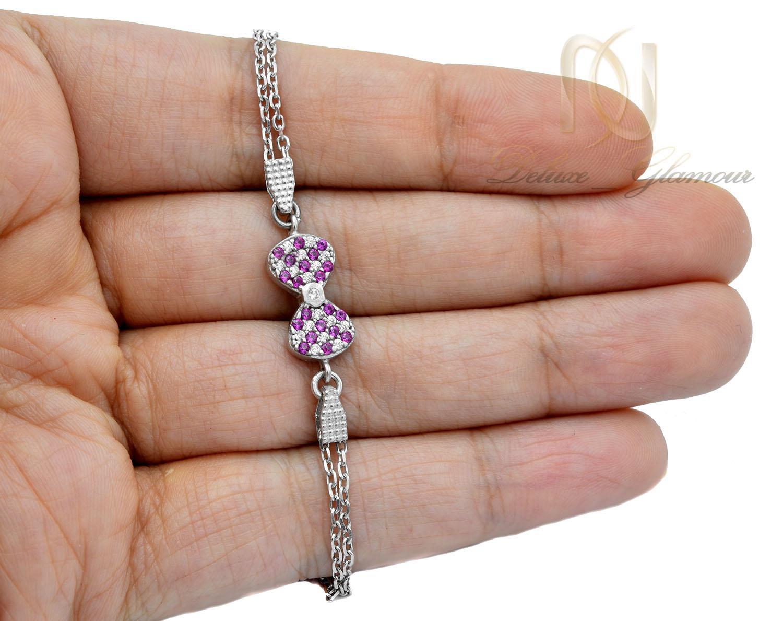 دستبند نقره دخترانه ظریف طرح پاپیون ds-n419 از نمای روی دست