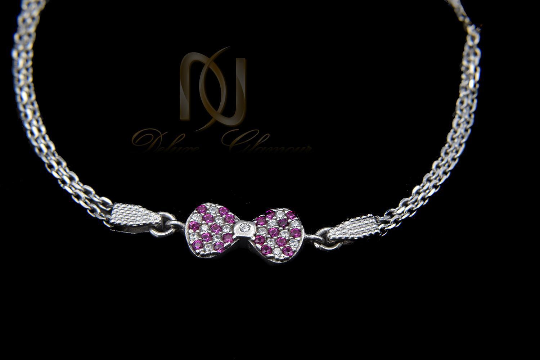 دستبند نقره دخترانه ظریف طرح پاپیون ds-n419 از نمای مشکی