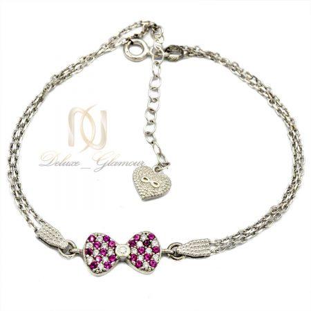 دستبند نقره دخترانه ظریف طرح پاپیون ds-n419 از نمای سفید