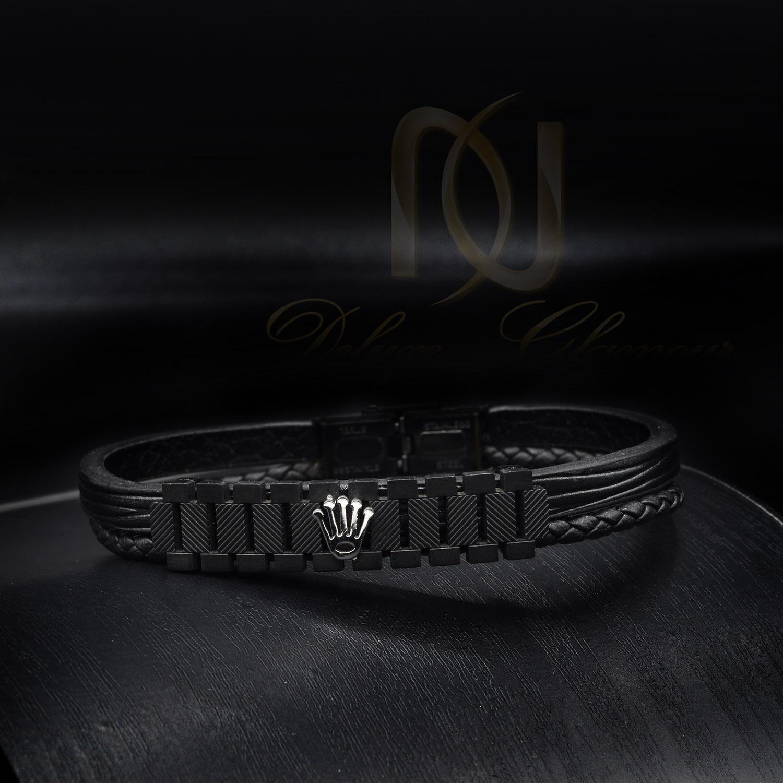 دستبند پسرانه چرمی اصل طرح رولکس ds-n433 از نمای مشکی
