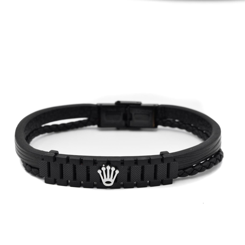 دستبند پسرانه چرمی اصل طرح رولکس ds-n433 از نمای سفید