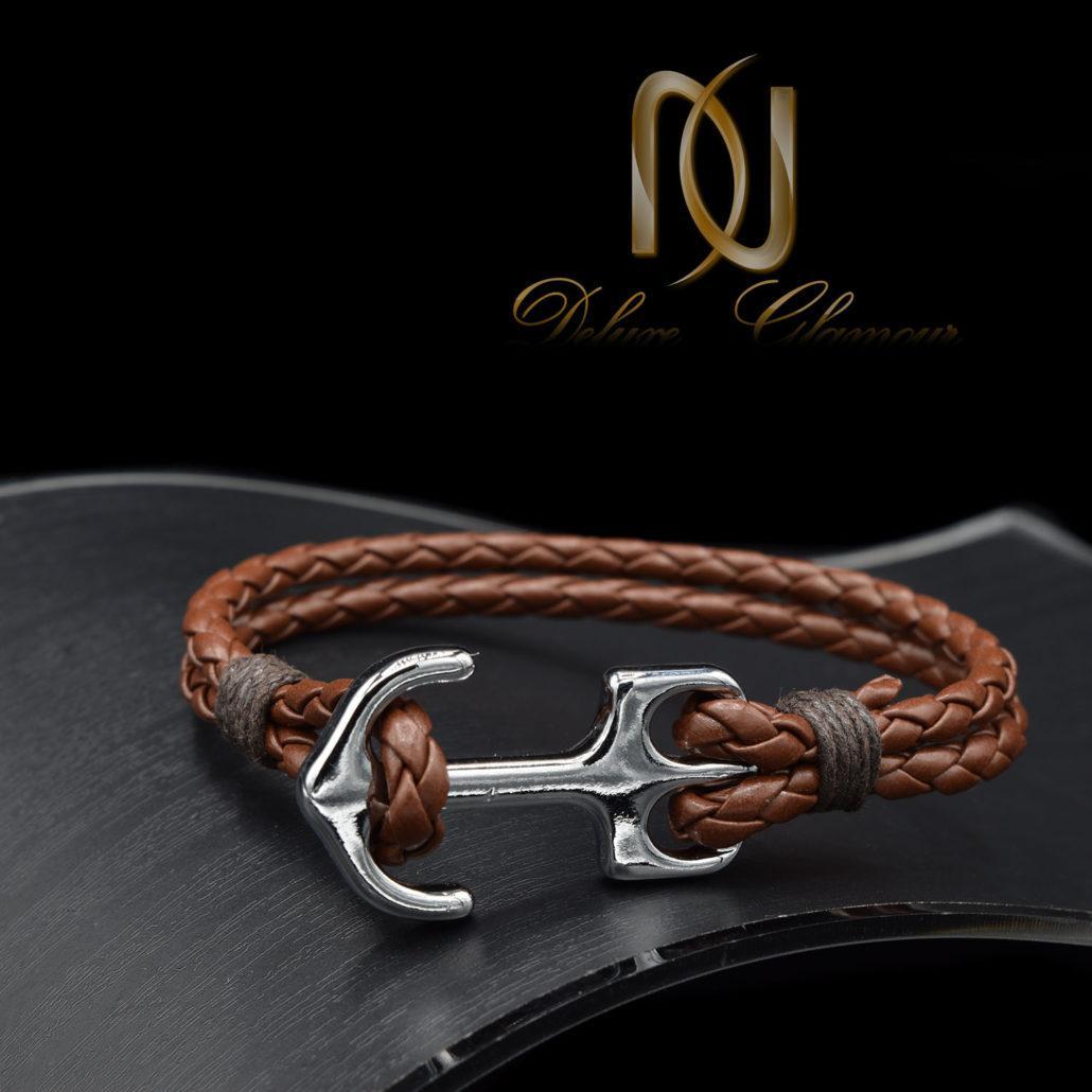 دستبند چرمی اسپرت قهوه ای طرح لنگر ds-n441 از نمای مشکی