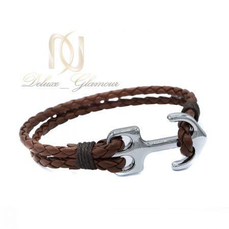 دستبند چرمی اسپرت قهوه ای طرح لنگر ds-n441 از نمای سفید