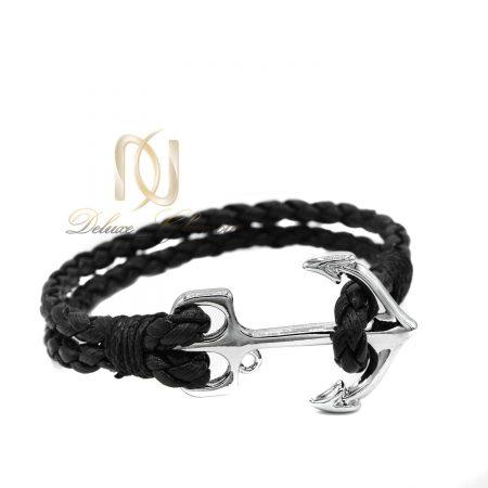 دستبند چرم اسپرت مشکی طرح لنگر ds-n442 از نمای سفید