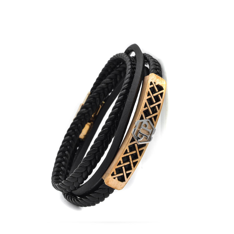 دستبند چرم مردانه اسپرت چهار ردیفه DS-N434 از نمای کنار