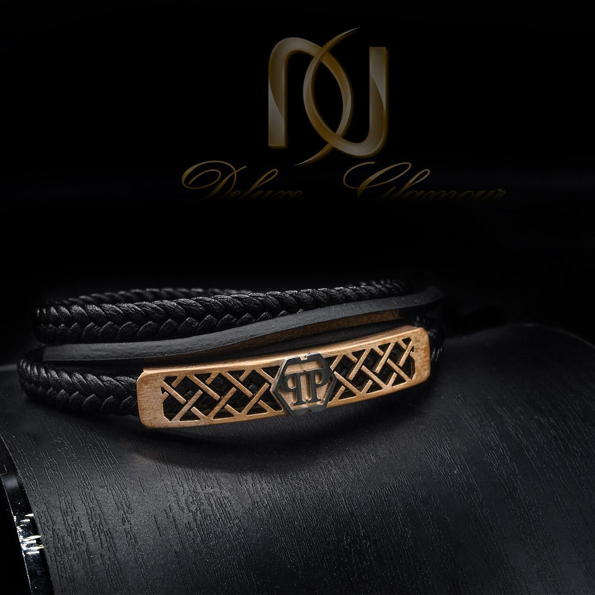 دستبند چرم مردانه اسپرت چهار ردیفه DS-N434 از نمای مشکی
