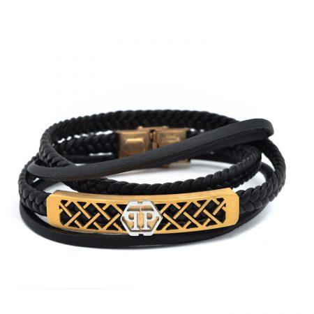 دستبند چرم مردانه اسپرت چهار ردیفه DS-N434 از نمای روبرو