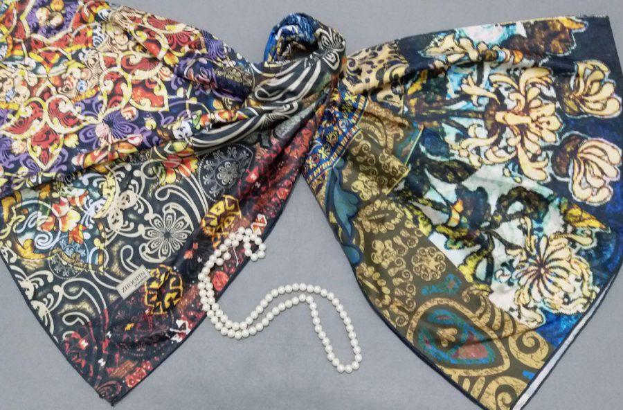 روسری ابریشم توییل کج راه دور دست دوز sr-n288 از نمای روبرو