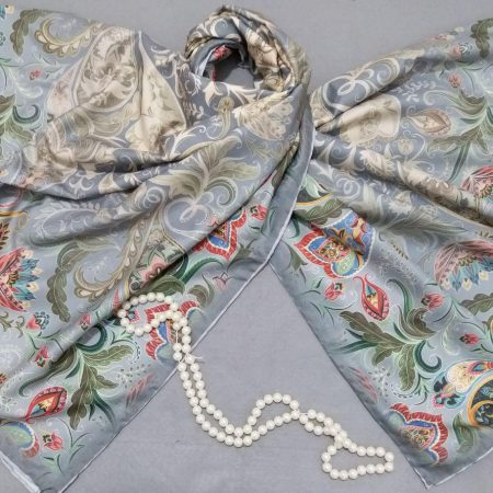 روسری ابریشم توییل کج راه دور دوخت sr-n283