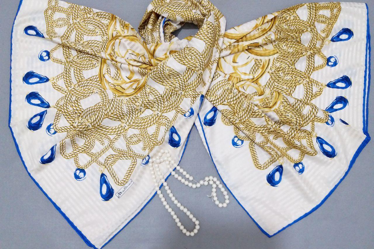 روسری ابریشم جدید طرح دار دور دوخت sr-n270