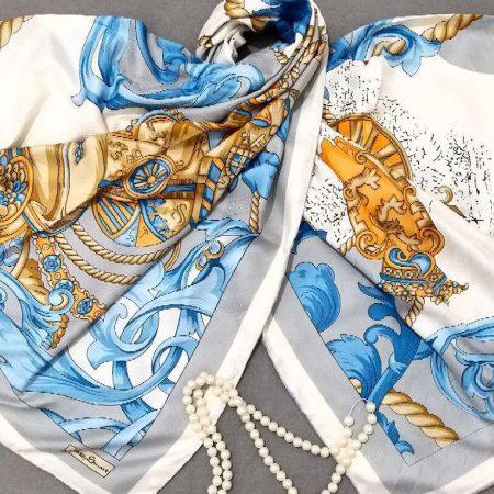 روسری ابریشم مدل جدید دور دوخت طرحدار sr-n266 از نمای نزدیک