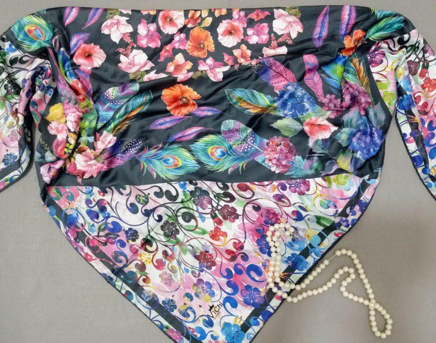 روسری مدل جدید ساتن ابریشم sr-n274 از نمای نزدیک