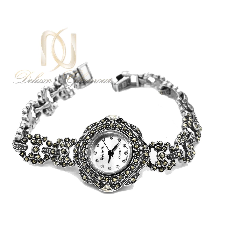 ساعت نقره زنانه مچی سیاه قلم سما WH-N139 از نمای سفید
