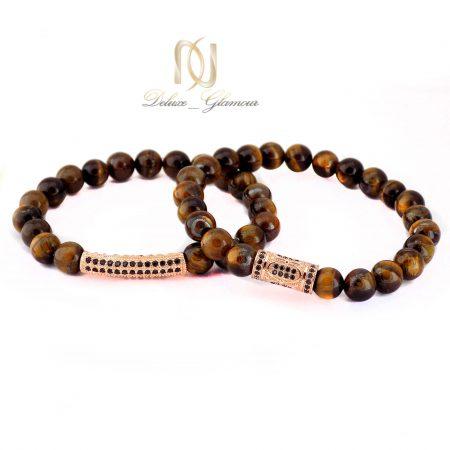 ست دستبند دختر و پسر سنگ چشم ببر za-n131 از نمای روبرو