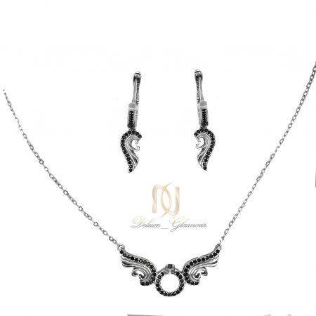نیم ست دخترانه نقره تایلندی طرح بال فرشته ns-n447