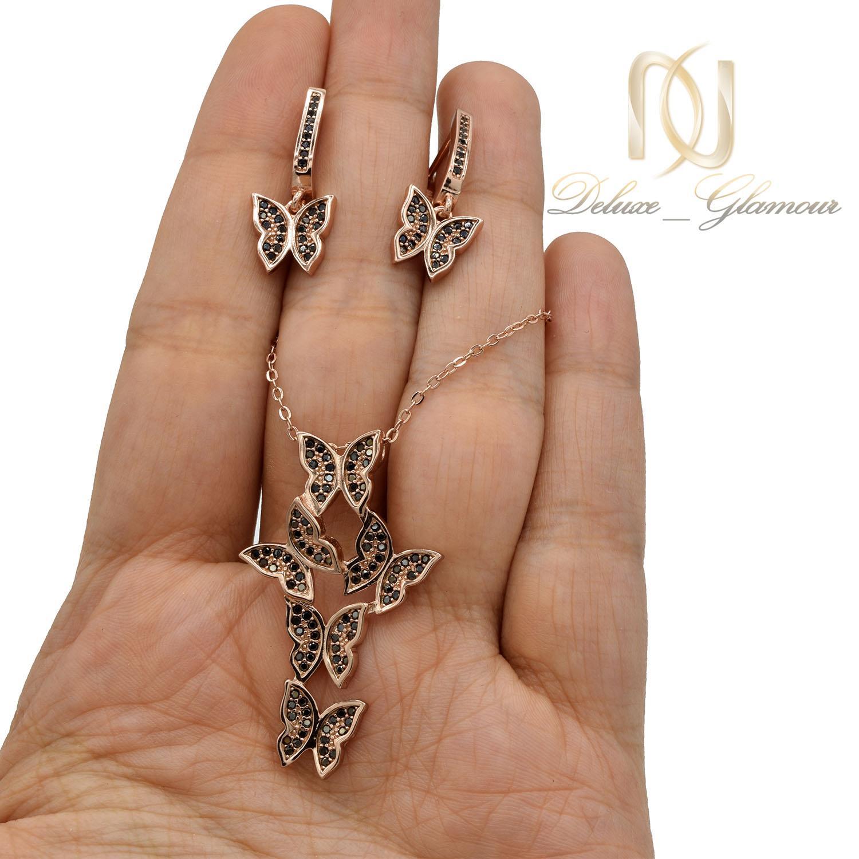 نیم ست دخترانه نقره تایلندی طرح پروانه ns-n445 از نمای روی دست