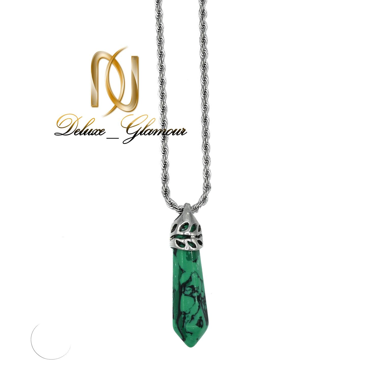 گردنبند اسپرت بلند سنگ مالاکیت nw-n473