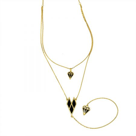گردنبند رومانتویی بلند طرح الماس طلایی NW-N478