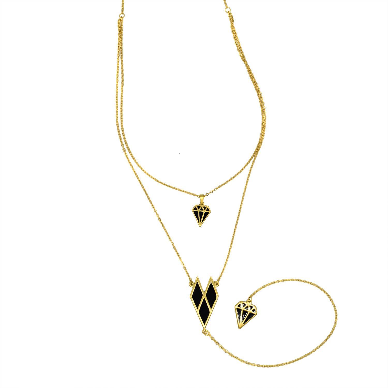 گردنبند رومانتویی بلند طرح الماس طلایی NW-N478 از نمای سفید