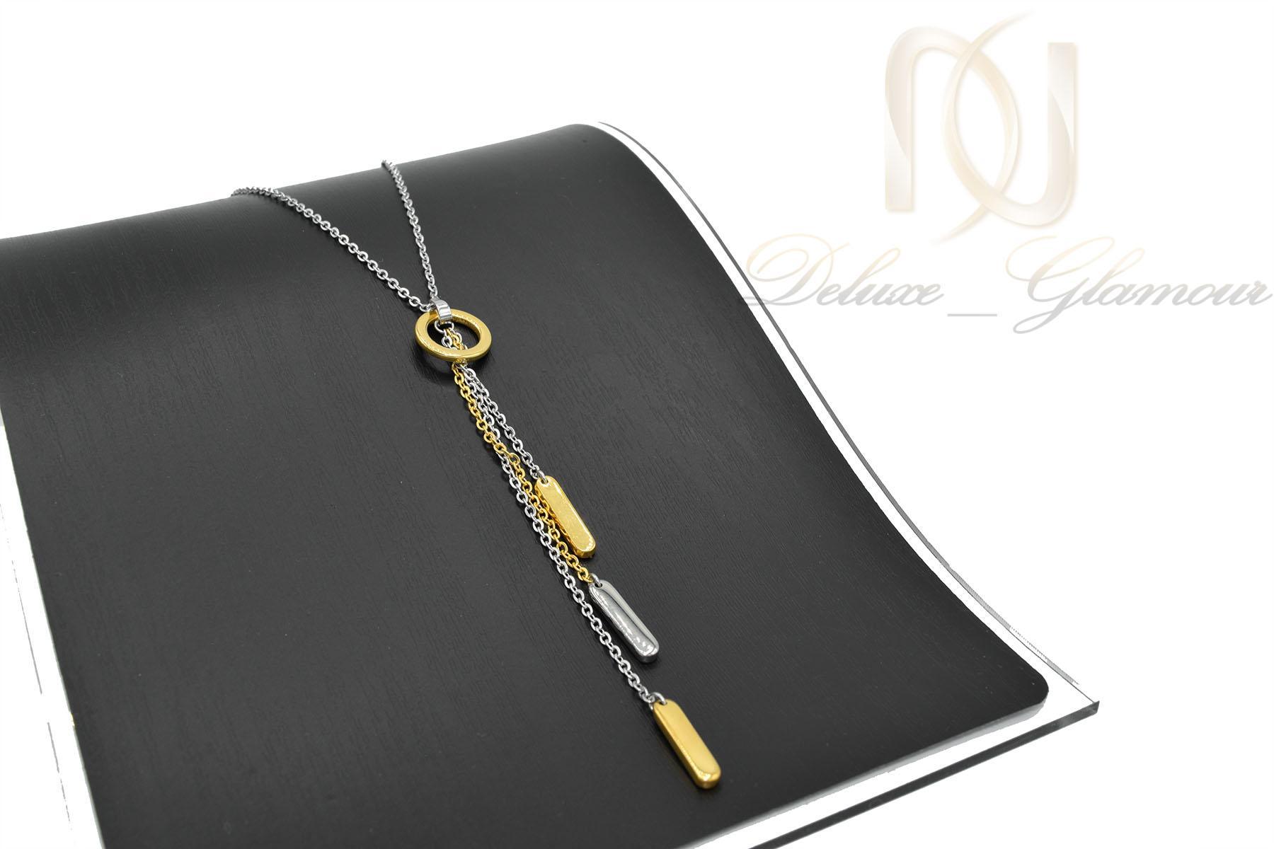 گردنبند رومانتویی بلند طلایی نقره ای استیل nw-n479 از نمای کنار