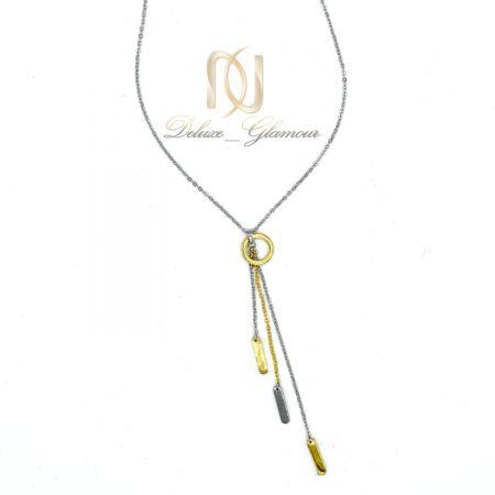 گردنبند رومانتویی بلند طلایی نقره ای استیل nw-n479