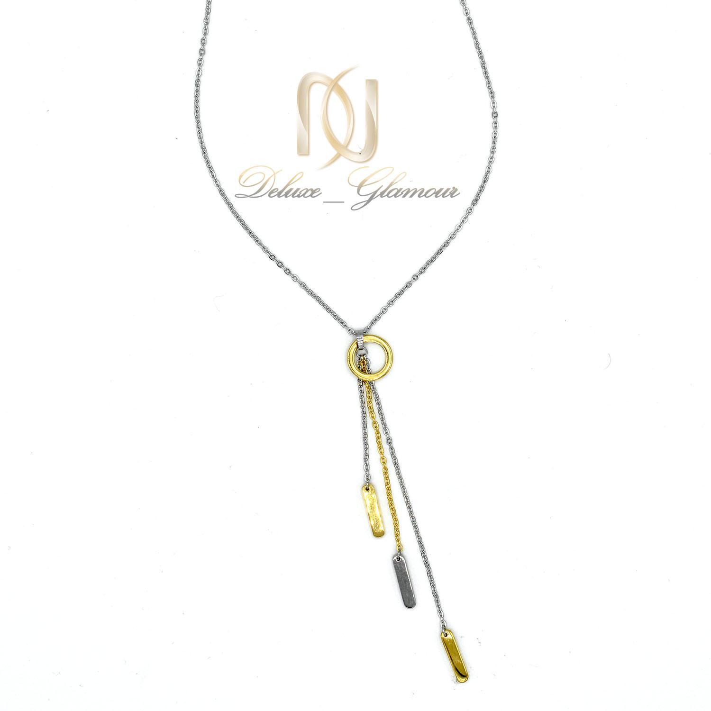 گردنبند رومانتویی بلند طلایی نقره ای استیل nw-n479 از نمای سفید