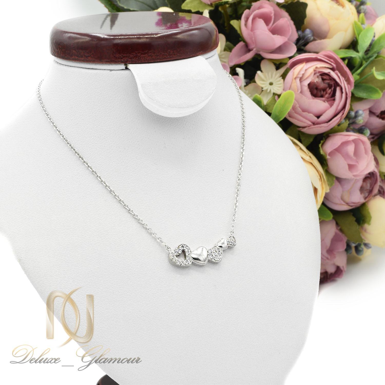 گردنبند نقره دخترانه ظریف طرح قلب nw-n465 از نمای روبرو