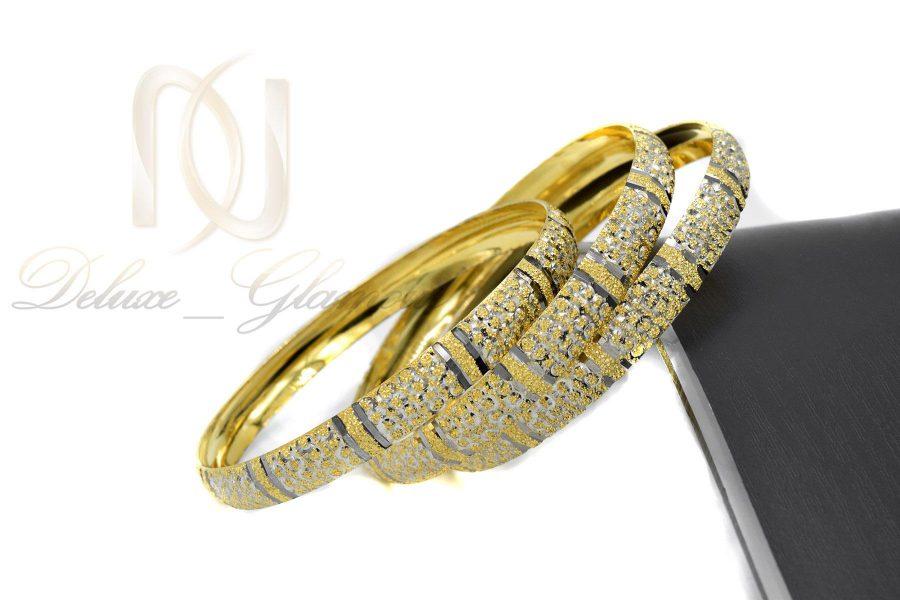النگو زنانه نقره تراش طرح طلای دو رنگ al-n117 از نمای کنار
