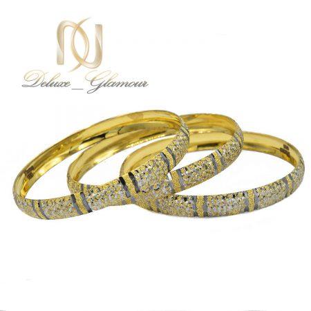 النگو زنانه نقره تراش طرح طلای دو رنگ al-n117 از نمای سفید