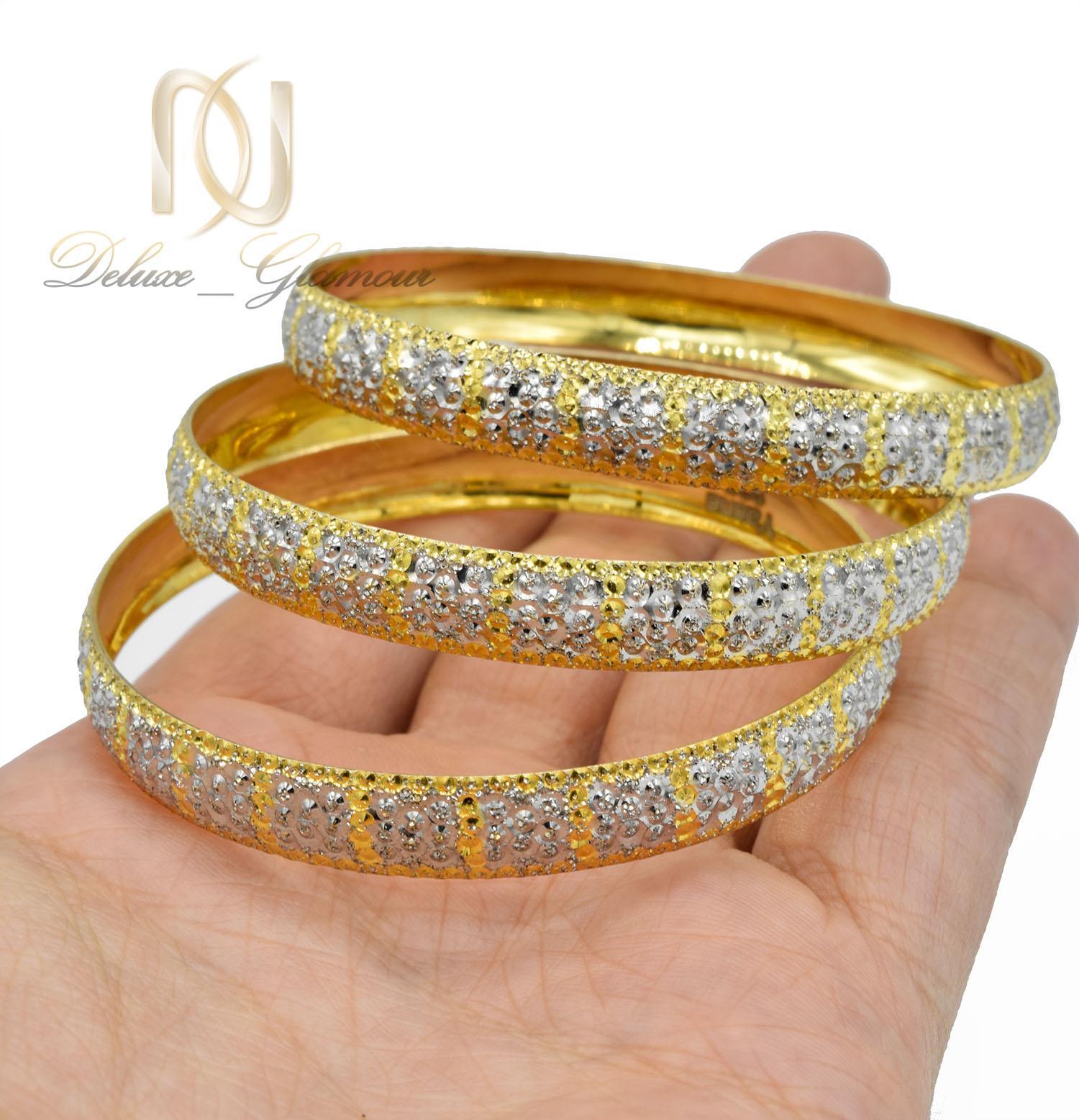 النگو زنانه نقره دو رنگ طرح طلا تراش AL-N116 از نمای نزدیک