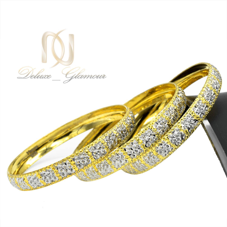 النگو زنانه نقره دو رنگ طرح طلا تراش AL-N116 از نمای کنار