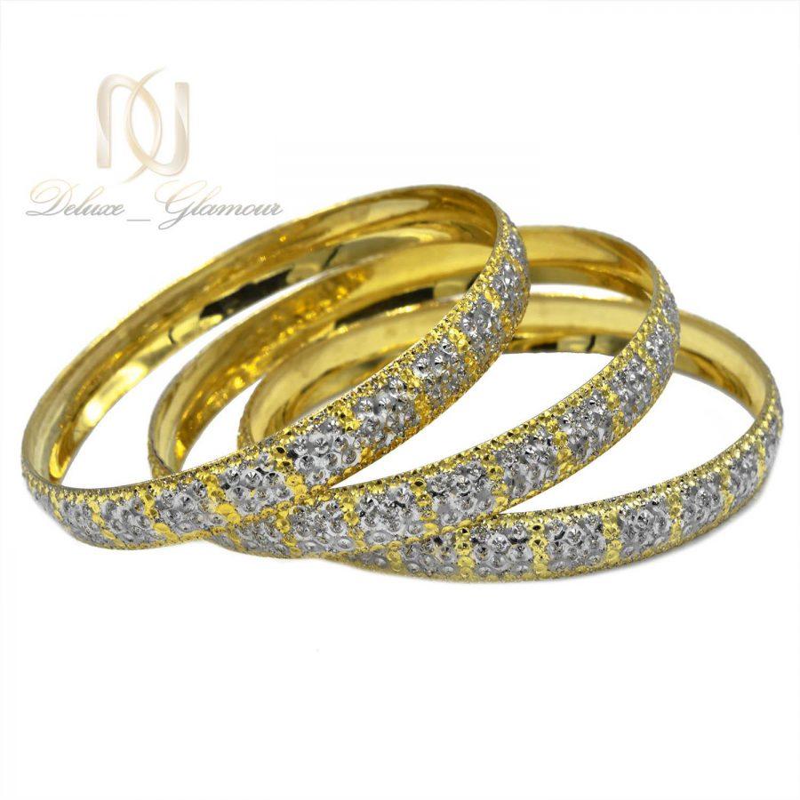 النگو زنانه نقره دو رنگ طرح طلا تراش AL-N116 از نمای سفید