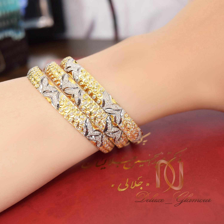 النگو نقره زنانه تراش دو رنگ طرح طلا al-n115 از نمای روی دست