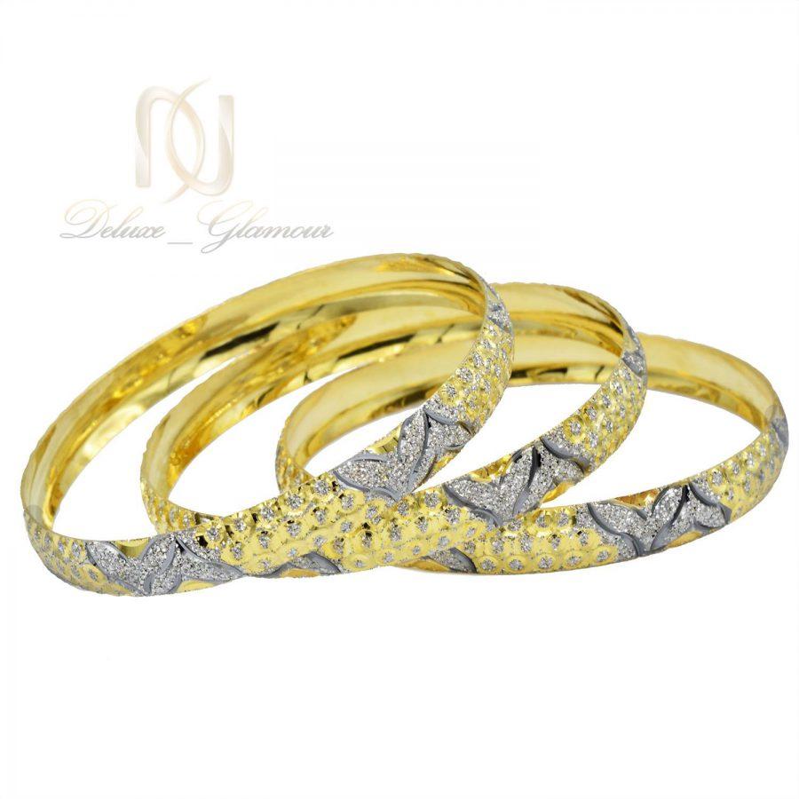 النگو نقره زنانه تراش دو رنگ طرح طلا al-n115 از نمای سفید