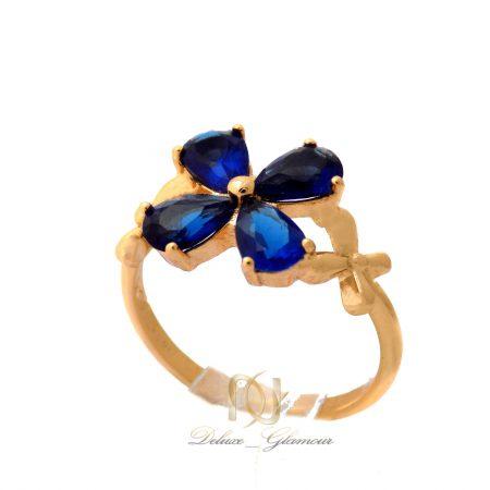 انگشتر دخترانه ژوپینگ طرح گل نگین آبی rg-n373 از نمای روبرو