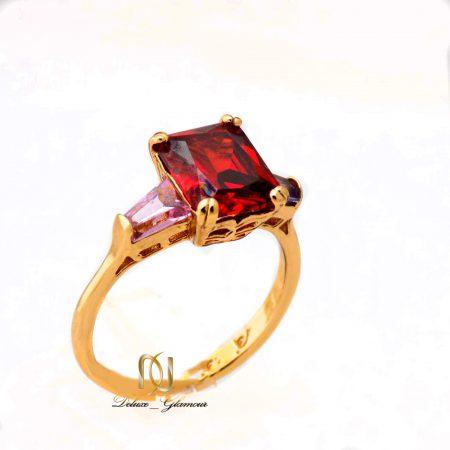 انگشتر دخترانه ژوپینگ نگین قرمز و صورتی rg-n348 از نمای روبرو