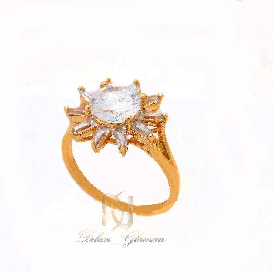 انگشتر زنانه استیل طرح طلای نگین دار rg-n351 از نمای روبرو