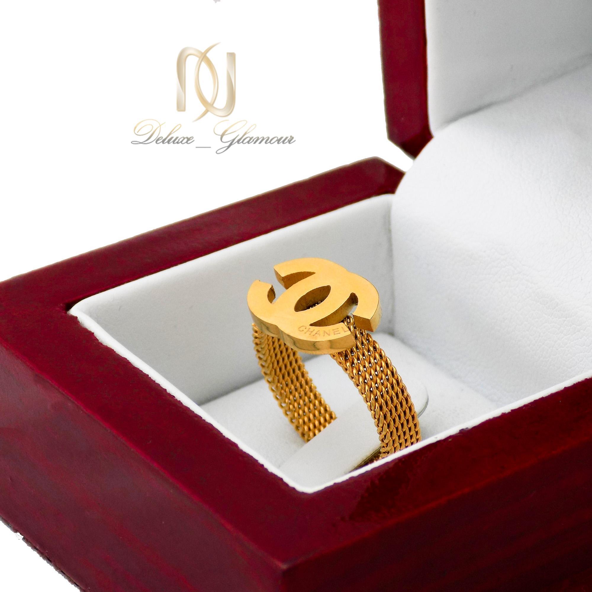 انگشتر زنانه استیل طرح چنل طلایی rg-n350