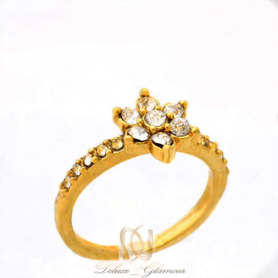 انگشتر زنانه استیل طرح گل طلایی rg-n354 از نمای روبرو