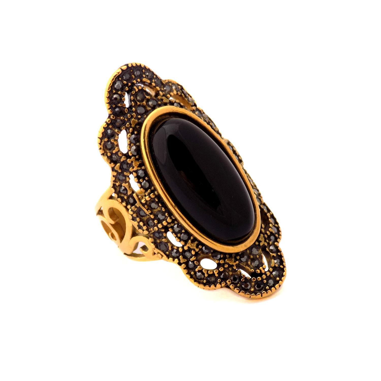 انگشتر زنانه استیل طلایی نگین مارکازیت rg-n378 از نمای پایین