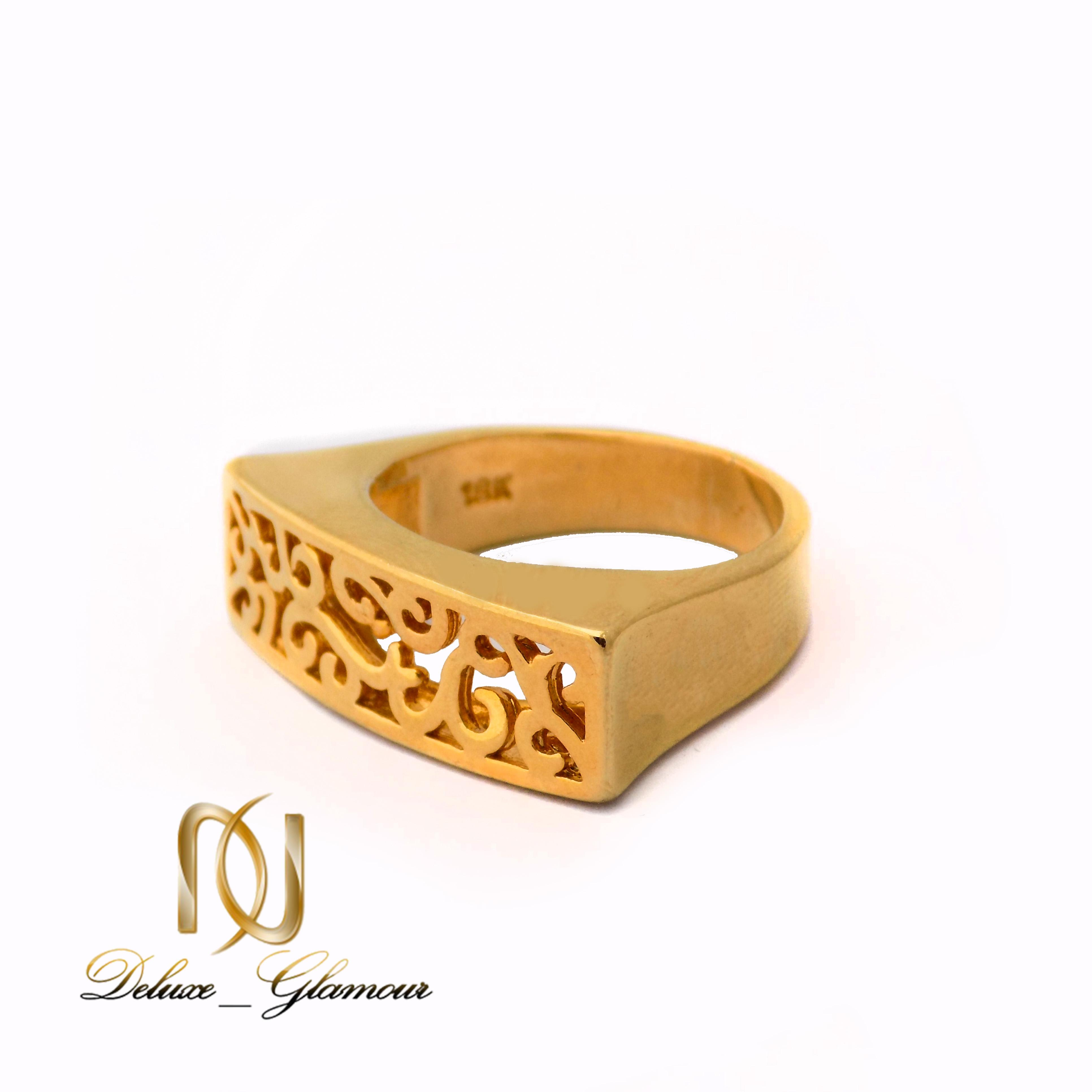 انگشتر زنانه برنجی طرح طلا توری مستطیلی rg-n368 از نمای پایین