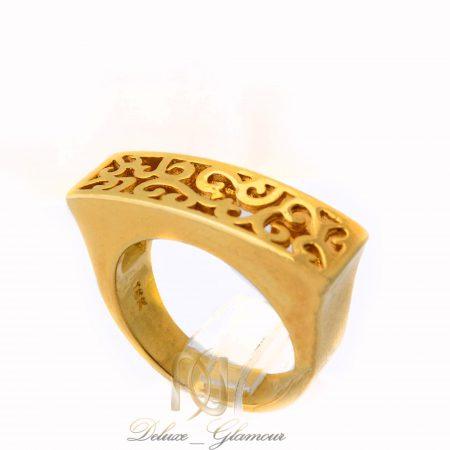 انگشتر زنانه برنجی طرح طلا توری مستطیلی rg-n368 از نمای روبرو